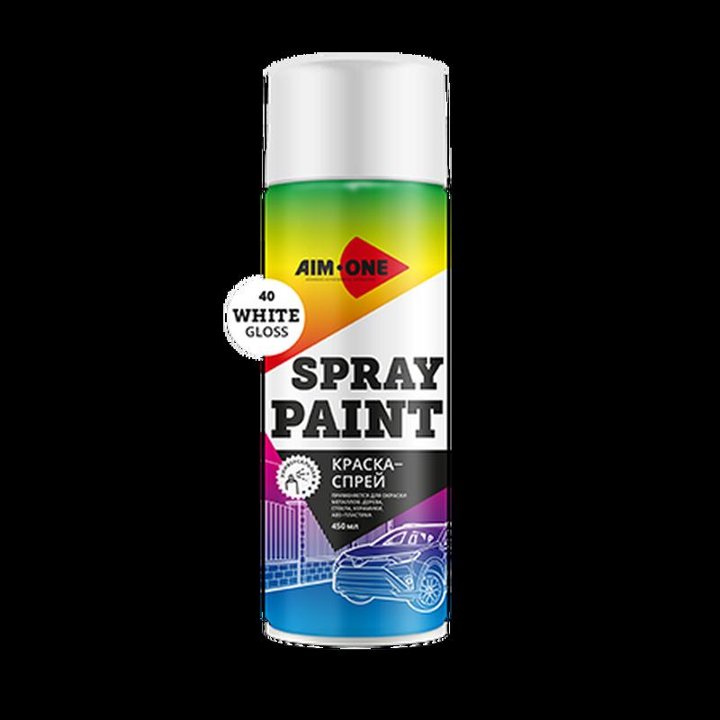 AIM-ONE Краска-спрей SP-GB40 (белая глянц.) 450мл